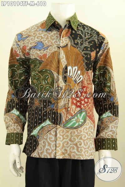 Model Baju Batik Kemeja Pria, Hem Batik Solo Halus Full Furing Nan Mewah Bahan Adem Motif Klasik Tulis Asli, Membuat Lelaki Terlihat Gagah Menawan [LP10194TF-M]