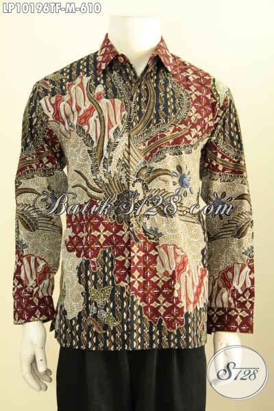 Model Baju Batik Hem Lengan Panjang Untuk Pria Kantoran, Busana Batik Mewah Halus Full Furing Motif Klasik Tulis Asli, Psa Buat Acara Resmi Dan Kondangan [LP10196TF-M]