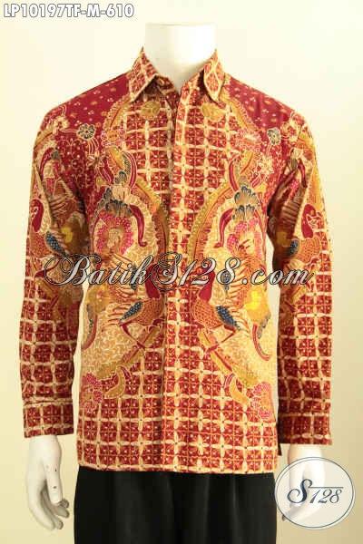 Model Baju Batik Kemeja Lengan Panjang Mewah Full Furing, Pakaian Batik Solo Berkelas Size M Motif Bagus Tulis Asli, Penampilan Makin Berwibawa