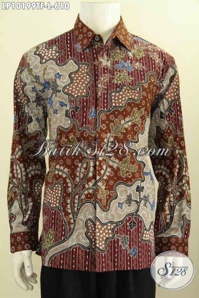 Model Baju Batik Solo Lengan Panjang Premium Buat Kerja Dan Rapat, Bahan Halus Motif Klasik Full Furing Harga 610K, Size L