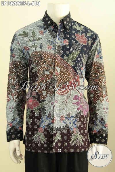Model Baju Batik Cowok Lengan Pajang Size L, Kemeja Batik Premium Solo Full Furing, Hadir Dengan Desain Mewah Khas Pejabat, Penampilan Lebih Istimewa Harga 610 Ribu [LP10202TF-L]
