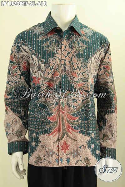 Model Baju Batik Mewah Hadir Dengan Warna Hijau Berbahan Adem Motif Klasik, Produk Baju Batik Lengan Panjang Mewah Full Furing, Spesial Buat Lelaki Dewasa Terlihat Berwibawa [LP10208TF-XL]
