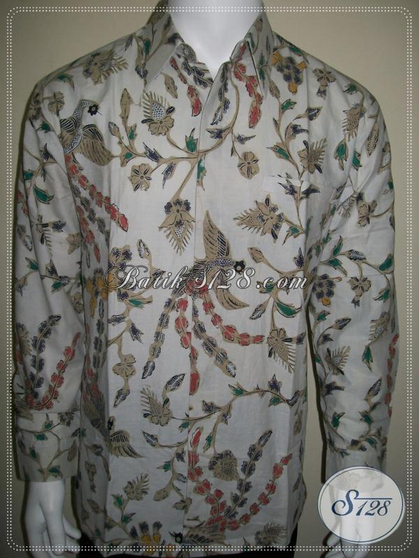 Busana Batik Pria Lengan Panjang Warna Putih Elegan Dan Bagus [LP1020BT-L]