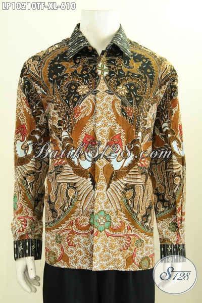 Model Baju Batik Solo Premium Lengan Panjang Terkini, Hem Batik Tulis Mewah Full Furing, Cocok Untuk Kerja Dan Acara Resmi, Size XL