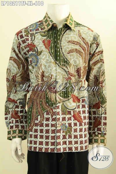 Model Baju Batik Solo Mewah Untuk Rapat, Baju Batik Lengan Panjang Tulis Asli Motif Klasik Pake Furing, Cocok Juga Buat Kondangan, Size XL