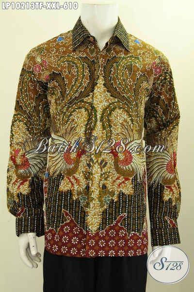 Model Baju Batik Hem Lengan Panjang Full Furing Mewah Bahan Adem Proses Tulis Motif Klasik, Pakaian Batik Kerja Formal Cocok Buat Rapat, Size XXL