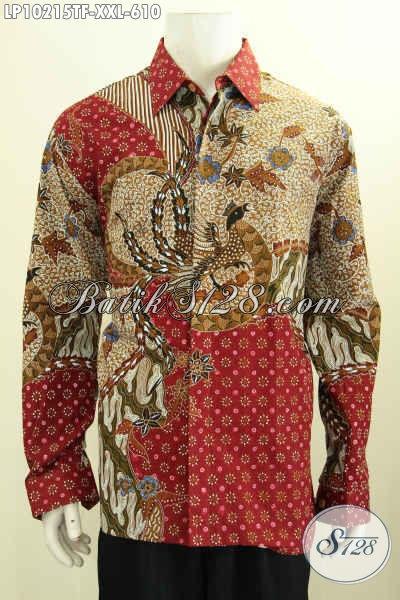Model Baju Batik Solo Premium Warna Merah Motif Klasik, Kemeja Batik Istimewa Full Furing Lengan Panjang Spesial Buat Lelaki Gemuk, Penampilan Lebih Mempesona, Size XXL