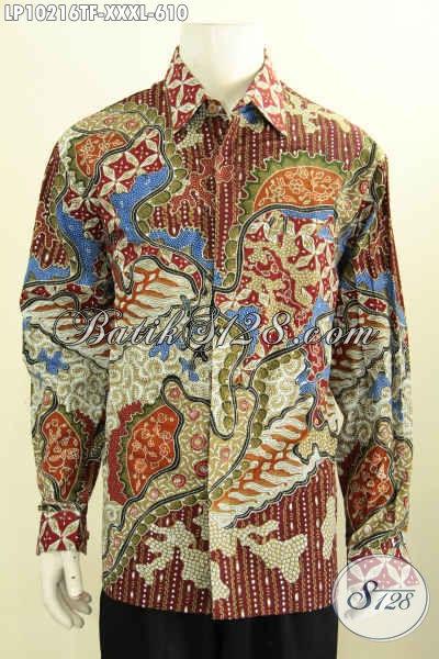 Hem Batik Pria Gemuk Sekali, Busana Batik 4L Lengan Panjang Premium Daleman Pake Furing, Bahan Halus Motif Klasik Tulis Asli Hanya 600 Ribuan, Size XXXL