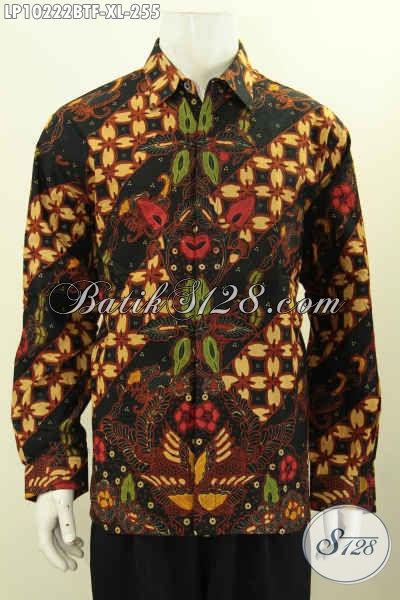 Model Baju Batik Kemeja Pria Dewasa Size XL, Busana Batik Solo Lengan Panjang Full Furing Bahan Adem Proses Kombinasi Tulis, Penampilan Lebih Istimewa