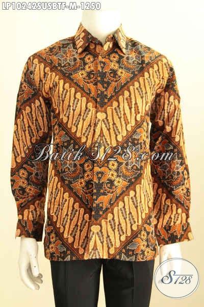 Model Bau Batik Lengan Panjang Pria Terbaru, Kemeja Batik Klasik Bahan Sutra Mewah Full Furing, Cocook Untuk Pria Pejabat Dan Eksekutif [LP10242SUSBTF-M]