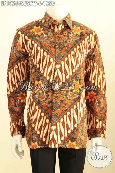 Model Baju Batik Kemeja Pria Motif Klasik Kombinasi Tulis, Hadir Dengan Bahan Sutra Super Nan Berkelas, Busana Batik Lengan Panjang Full Furing, Pas Untuk Agen Rapat, Size L