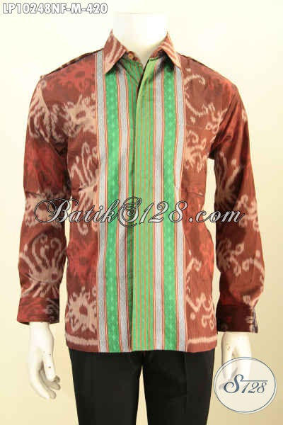 Model Baju Tenun Istimewa Untuk Pria Muda, Kemeja Tenun Premium Full Furing Lengan Panjang Bahan Halus Nyaman Di Pakai Harga 420K [LP10248NF-M]
