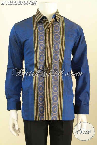 Model Baju Tenun Warna Biru Dengan Motif Garis Tegas Dan Berkelas, Pakaian Tenun Cowok Masa Kini Lengan Panjang Full Furing, Di Jual Online 420K [LP10252NF-M]