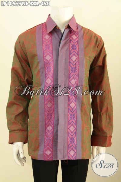 Baju Kemeja Tenun Elegan Mewah Spesial Untuk Pria Gemuk, Produk Busana Mewah Berkelas Full Furing Lengan Panjang Khas Jawa Tengah Hanya 420K, Size XXL