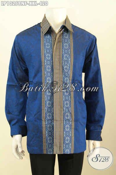 Model Baju Tenun Pria Terkini Spesial Buat Lelaki Gemuk, Pakaian Hem Tenun Nan Istimewa Bahan Adem Full Furing Hanya 420K [LP10258NF-XXL]