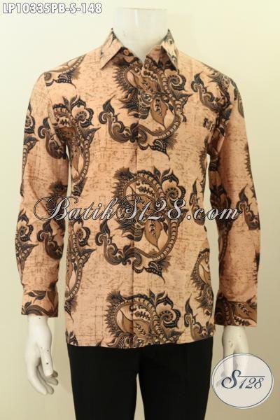 Kemeja Lengan Panjang Klasik Khas Jawa Tengah, Baju Batik Solo Elegan Proses Printing Untuk Acara Resmi Tampil Berwibawa, Size S