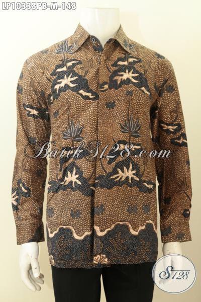 Batik Hem Pria Terkini, Kemeja Batik Solo Halus Lengan Panjang Bahan Adem Proses Printing Dengan Motif Klasik, Tampil Elegan Dan Mewah, Size M