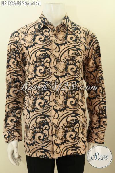 Model Baju Batik Modis Keren Dan Berkelas Untuk Kerja Dan Rapat, Pakaian BatikLengan Batik Printing Lengan Panjang Buatan Solo Asli Harga 148K [LP10345PB-L]