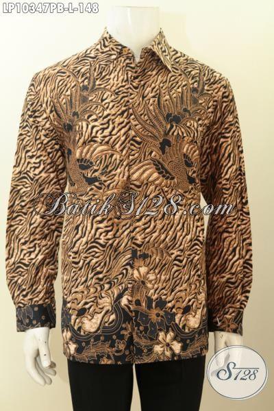 Pakaian Batik Kemeja Terkini, Hem Batik Solo Jawa Tengah Halus Lengan Panjang Bahan Adem Nan Istimewa, Bikin Lelaki Tampil Gagah Mempesona, Size L
