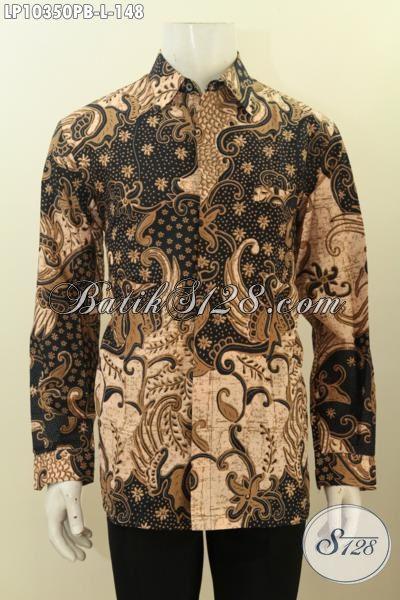 Model Baju Batik Cowok Lengan Panjang Yang Membuat Penampilan Lebih Gagah Berwibawa, Pakaian Batik Solo ELegan Terbaru Harga 148K [LP10350PB-L]