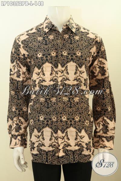 Jual Online Baju Batik Lengan Panjang Motif Klasik, Busana Batik Solo Terbaru Kwalitas Istimewa Proses Printing, Penampilan Makin Gagah, Size L