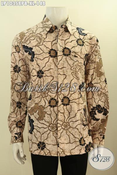Baju Kemeja Batik Lengan Panjang Khas Jawa Tengah, Hem Batik Halus Motif Klasik Proses Printing, Cocok Buat Kerja Dan Kondangan Harga 148K, Size XL