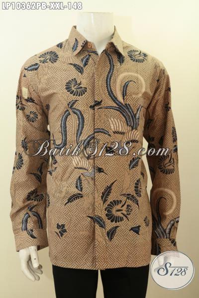 Baju Batik Elegan Terbaru Bahan Adem Motif Klasik Printing Cabut, Cocok Buat Kerja Dan Acara Resmi, Size XXL