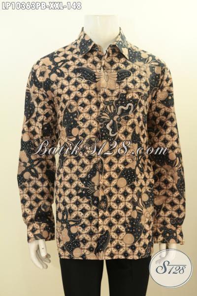 Model Baju Batik Lengan Panjang Big Size Terkini, Pakaian Batik Lelaki Gemuk Motif Mewah Bahan Adem, Cocok Untuk Kerja Kantoran, Size XXL