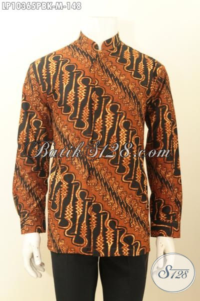Model Baju Batik Lengan Panjang Krah Shanghai, Pakaian Batik Solo Halus Motif Klasik Parang Printing Cabut, Tampil Gagah Berwibawa [LP10365PBK-M]