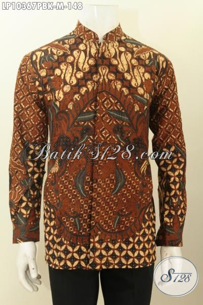 Pakaian Batik Lengan Panjang Elegan Koko Krah Shanghai, Hem Batik Halus Motif Klasik Printing Cabut Hanya 100 Ribuan, Size M