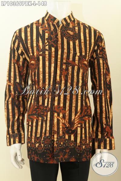 Pakaian Batik Lengan Panjang Size L, Baju Batik Printing Cabut Motif Klsaik Koko Krah Shanghai, Elegan Untuk Rapat Dan Kondangan