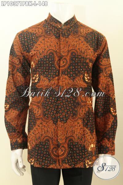 Model Baju Batik Krah Shanghai Lengan Panjang Ukuran L, Pakaian Batik Solo Halus Motif Klasik Bahan Adem, Cocok Untuk Acara Resmi [LP10371PBK-L]