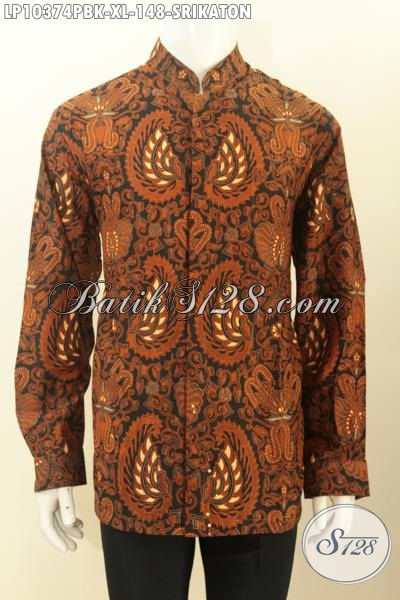 Batik Hem Koko Elegan Klasik Motif Srikaton, Baju Batik Krah Shanghai Lengan Panjang Printing Cabut Harga 148 Ribu, Size XL
