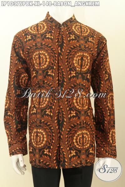 Model Baju Batik Koko Krah Shanghai Khas Jawa Tengah, Hem Batik Elegan Motif Babon Angkrem Untuk Acara Formal Proses Printing Cabut Hanya 100 Ribuan [LP10375PBK-XL]
