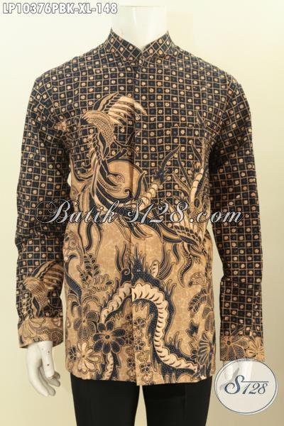 Baju Batik Lengan Panjang Seragam Kerja Nan Elegan, Pakaian Batik Halus Motif Klasik Bahan Adem Dengan Krah Shanghai Untuk Penampilan Lebih Mempesona, Size XL