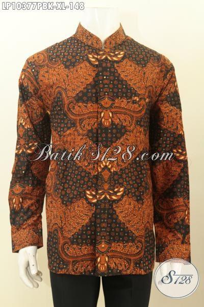 Jual Baju Kemeja Batik Solo Istimewa, Pakaian Batik Modis Halus Lengan Panjang Berkelas Untuk Penampilan Lebih Beda Dengan Desain Kerah Shanghai Hanya 148K, Size XL