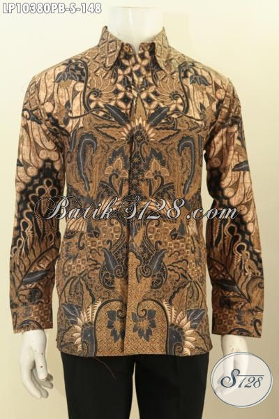 Produk Baju Kemeja Batik Solo Elegan Lengan Panjang, Pakaian Batik Solo Berkelas Bahan Adem Motif Klasik Printing Cabut, Di Jual Onine 148K, Size S
