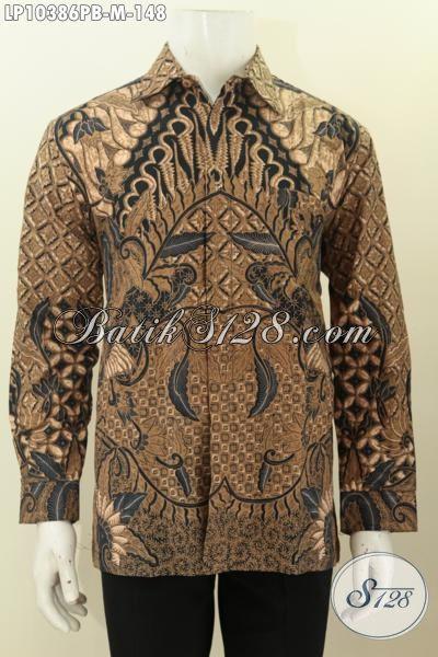 Batik Hem Elegan Model Lengan Panjang Nan Mewah, Busana Batik Istimewa Dengan Harga Biasa Penampilan Terlihat Mempesona, Size M