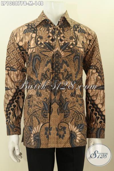 Pakaian Batik Lengan Panjang Model Kekinian, Busana Batik Elegan Motif Klasik Printing Cabut Khas Jawa Tengah, Bisa Untuk Resmi Dan Santai, Size M