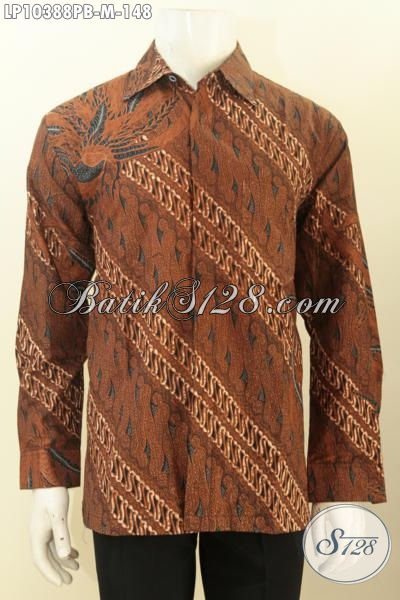 Pakaian Batik Halus Elegan Warna Coklat, Hem Batik Untuk Rapat Lengan Panjang Kwalitas Bagus, Cocok Juga Buat Kondangan, Size M