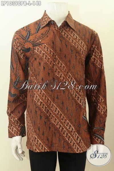 Pakaian Batik Kerja Lengan Panjang Motif Klasik Cocok Untuk Rapat Dan Acara Resmi, Bahan Adem Nyaman Di Pakai, Size L