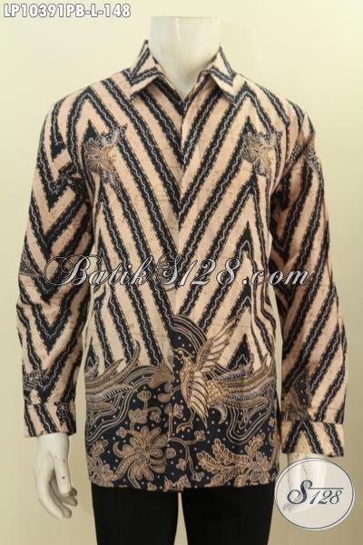 Model Pakaian Batik Solo Lengan Panjang Motif Tren Masa Kini, Hem Batik Istimewa Yang Membuat Pria Terlihat Mempesona, Size L