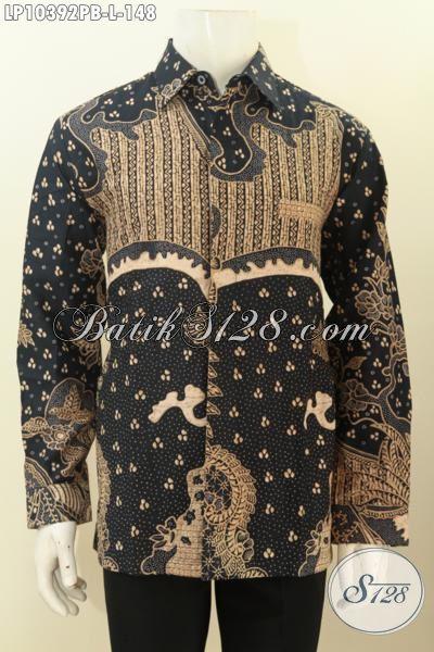 Jual Online Busana Batik Lengan Panjang Berkelas, Produk Baju Batik Istimewa Bahan Adem Motif Klasik Printing Cabut Tren Pakaian Cowok Masa Kini, Size L