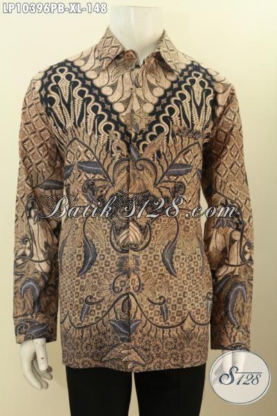 Batik Hem Pria Lengan Panjang Size XL, Kemeja Batik Solo Nan Istimewa Bahan Adem Proses Printing Cabut, Bikin Penampilan Gagah Mempesona, Size XL