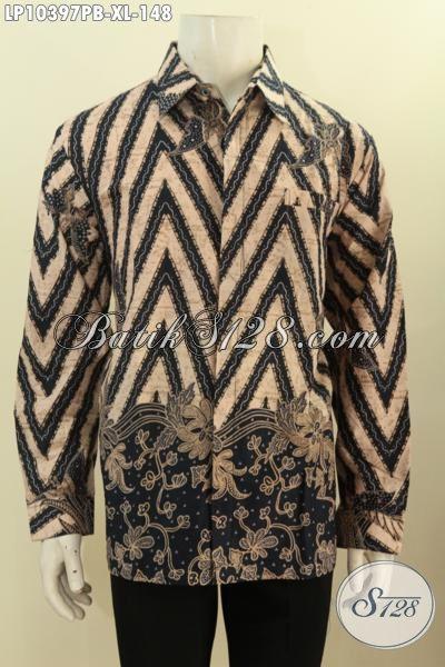 Batik Kemeja Lengan Panjang Elegan Kwalitas Bagus Bahan Adem Motif Klasik, Produk Baju Batik Printing Cabut Pas Banget Untuk Acara Resmi, Size XL