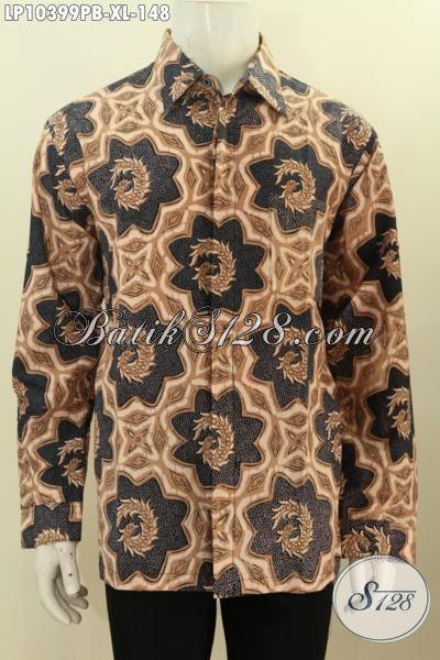 Batik Hem Solo Halus Lengan Panjang, Kemeja Batik Halus Kwalitas Bagus Proses Printing Cabut, Di Jual Online 148 Ribu Saja, Size XL