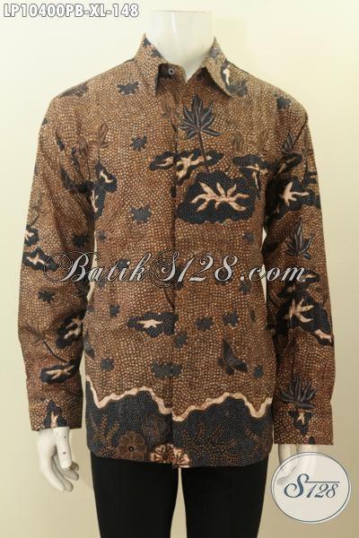 Model Baju Kemeja Batik Solo Lengan Panjang Motif Klasik, Hem Batik Halus Bahan Adem Untuk Rapat Dan Seragam Kerja Ngantor, Size XL Proses Printing Cabut