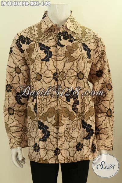 Batik Hem Elegan Untuk Lelaki Gemuk, Busana Batik Big Size Kwalitas Bagus Harga 148K Motif Klasik Printing Cabut, Ukuran XXL