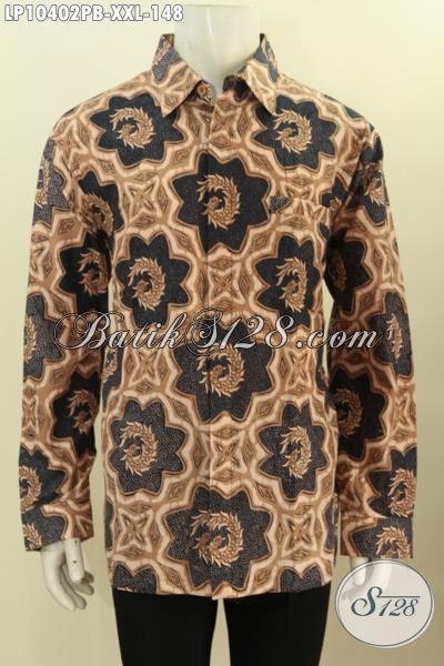 Jual Kemeja Batik Big Size, Hem Batik Pria Gemuk 3L Lengan Panjang Bahan Adem Motif Klasik Printing Cabut Hanya 100 Ribuan, Size XXL