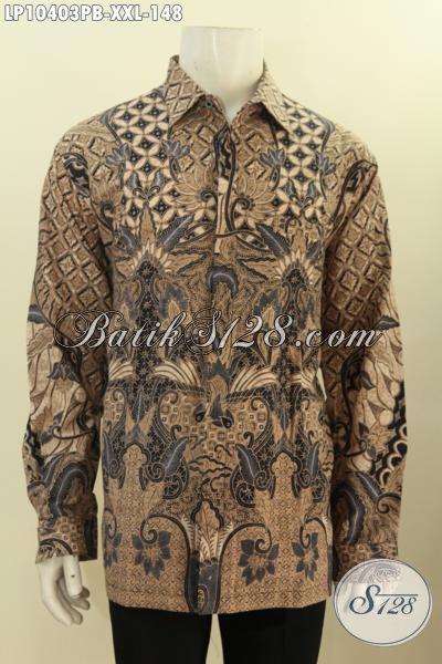 Batik Hem Solo Kwalitas Premium Dengan Harga Minimum, Pakaian Batik Jumbo Lengan Panjang Istimewa Eksklusif Untuk Lelaki Gemuk Tampil Berwibawa, Size XXL